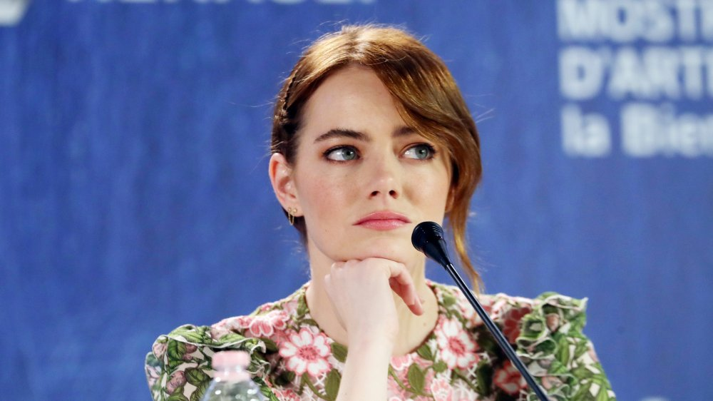 Emma Stone at a press conference in 2016
