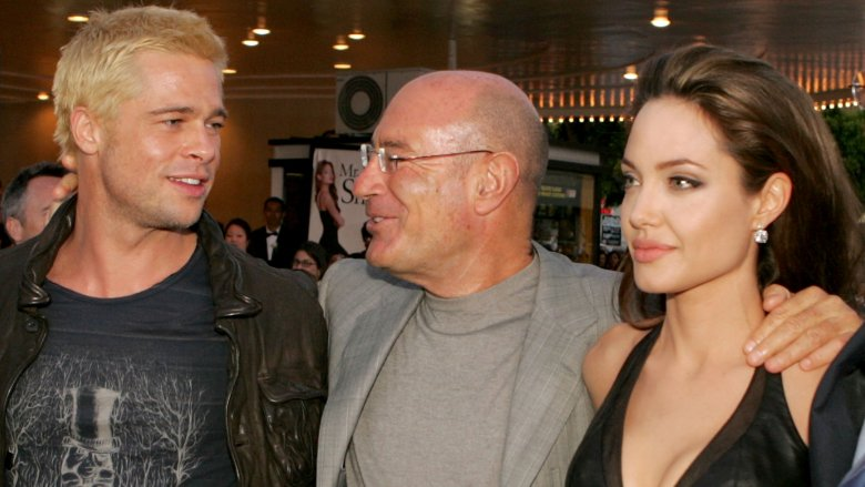 Brad Pitt, Producer Arnon Milchan, and Angelina Jolie