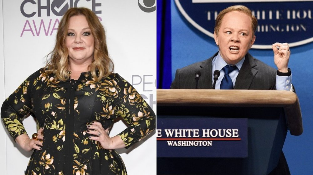 Split image of Melissa McCarthy on the red carpet and impersonating Sean Spicer on SNL
