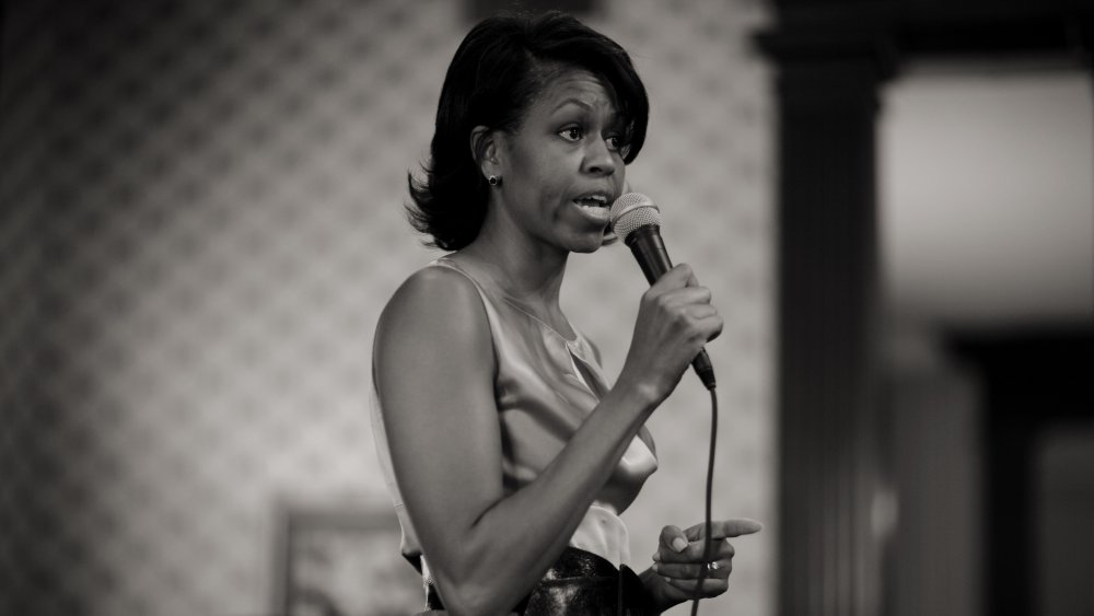 Michelle Obama speaking at a campaign event in 2007