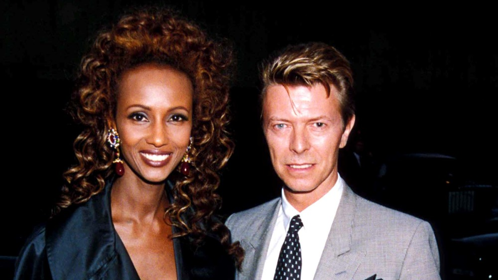David Bowie and Iman, smiling together