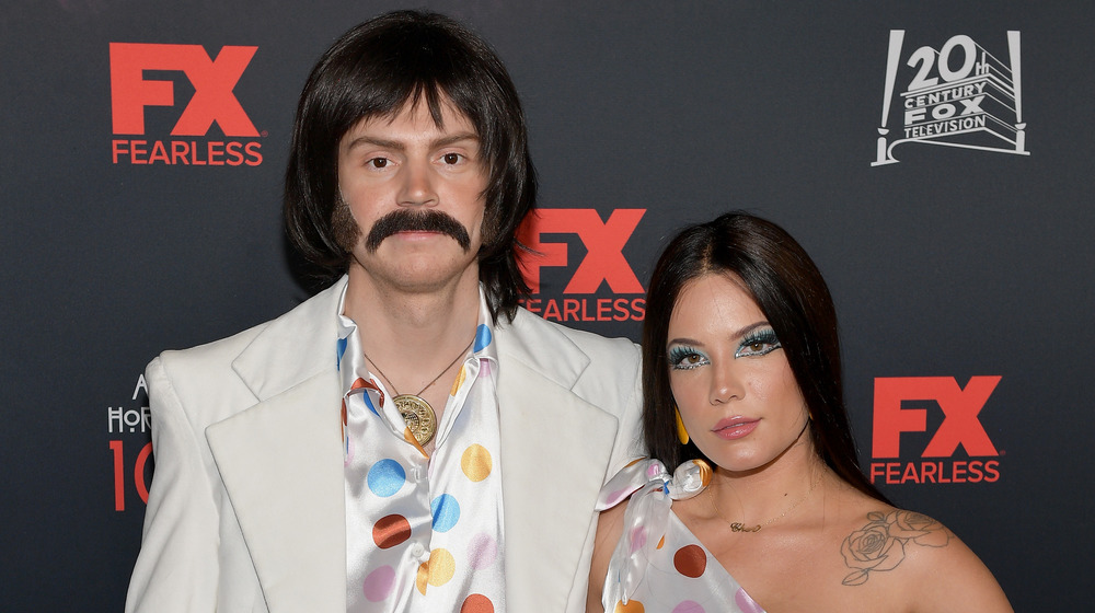 Evan Peters and Halsey dressed as Sonny and Cher for Halloween