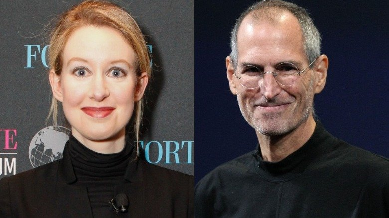 Elizabeth Holmes of Theranos and Steve Jobs of Apple