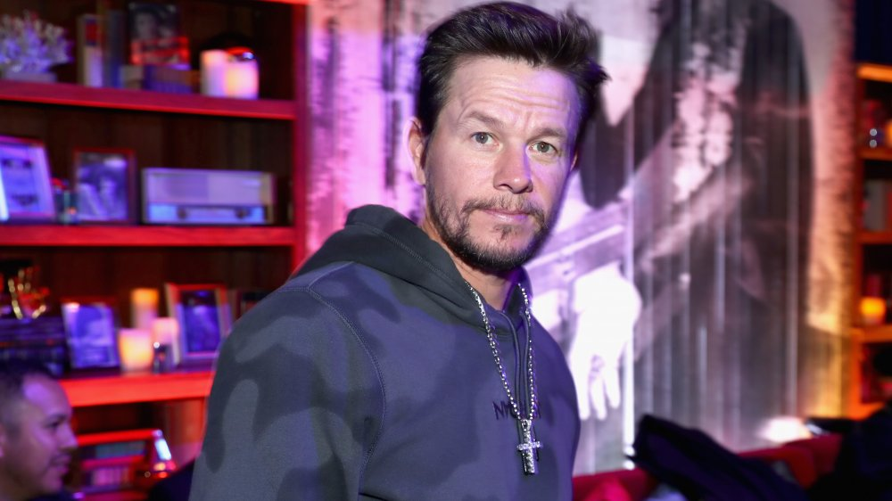 Mark Wahlberg in a camo hoodie