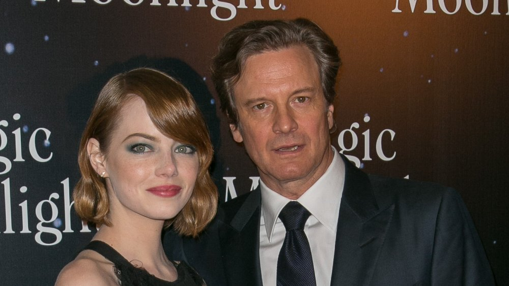 Emma Stone and Colin Firth at the premiere of Magic in the Moonlight